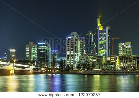 Illuminated Buildings And Skyline At Night During Luminale  In Frankfurt