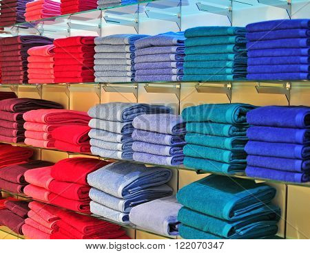 The colorful towels in the department store