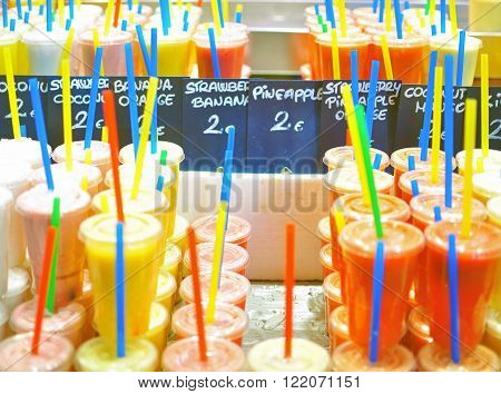 Fresh juices assortie. Boqueria food market, Barcelona ** Note: Soft Focus at 100%, best at smaller sizes