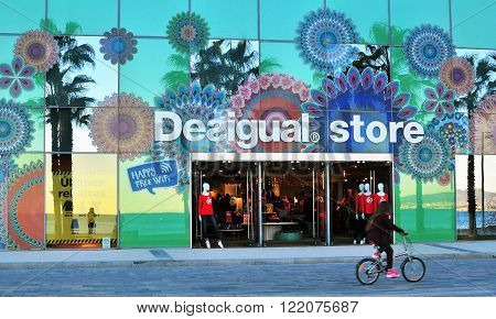 BARCELONA SPAIN - FEBRUARY 1: Desigual store in the street of Barcelona February 1 2015. Desigual is a world famous clothing brand founded in Spain.
