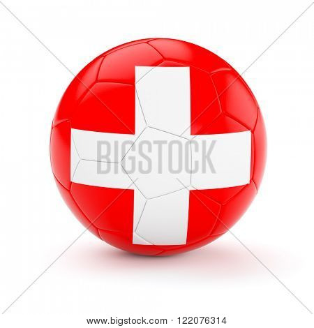 Switzerland soccer football ball with Swiss flag isolated on white background