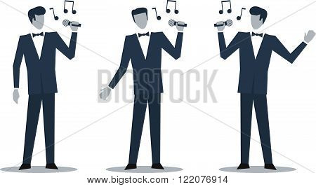 Singer in suit illustration, flat design illustration