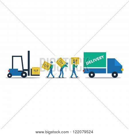 Delivery business, loading truck, flat design illustration