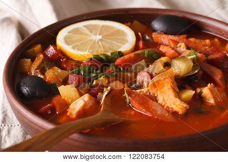 Solyanka - Russian Meat Soup In Bowl Macro Horizontal