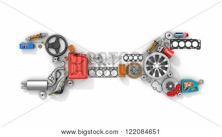 Auto parts in form of car wrench. To use in the advertising of spare parts for passenger and sports cars.