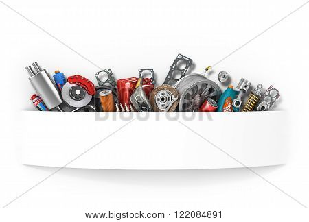 many parts isolated on white, concept Car.