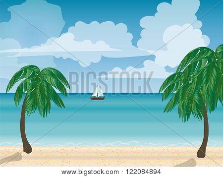 Yacht sea natural landscape. Tourism journey sea. Cruise. Beach vacation. Vector illustration