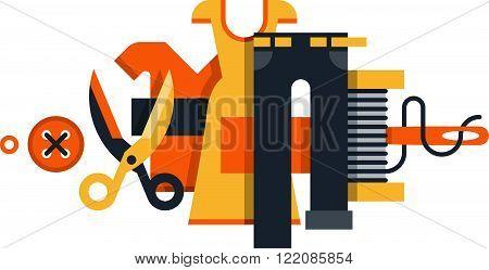 Tailor shop, services and works, flat design illustration