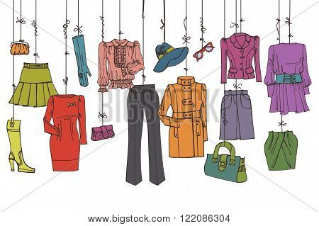 Colored Fashionable female clothing and accessories set on Sketchy style.Clothing hanging on ropes.Woman wear sticker or label.  Isolated object.Hand drawing fashion Vector