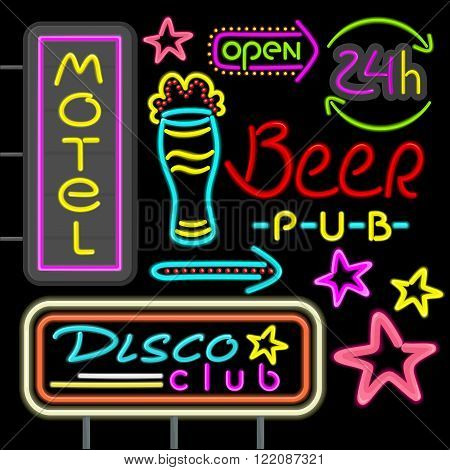 Neon signboard disco club, beer pub design flat. Retro neon vintage advertising, advertise light neon, hotel glowing, motel shiny sign, electric fashion neon arrow vectorillustration