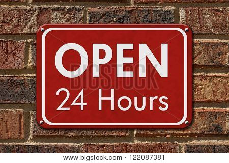 Open 24 Hours Sign A red hanging sign with text Open 24 Hours on a brick wall