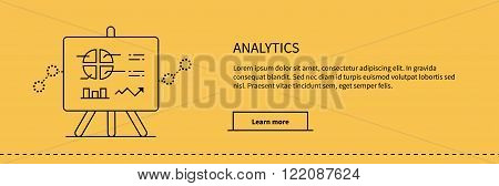 Stand with charts and parameters analytics on yellow. Business concept of analytics. Poster banner thin line black on yellow background. Presentation and analysis, rating and performance indicators.