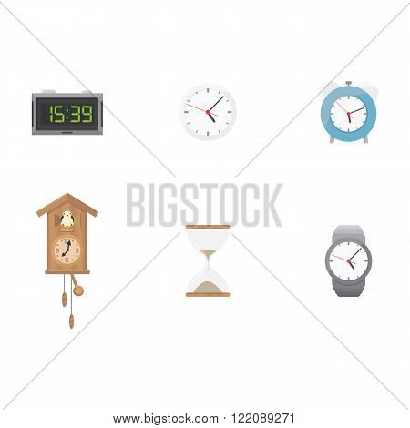 Clock and time icon set, digital, sandclocks