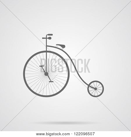Vector Gray Retro Bicycle Flat Icon over light gray background. Simple element for your designs projects logo and other