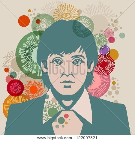 MARCH 13 2016: Vector Illustration of Paul McCartney, eps10, vector - stock vector