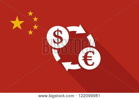 China Long Shadow Flag With A Dollar Euro Exchange Sign