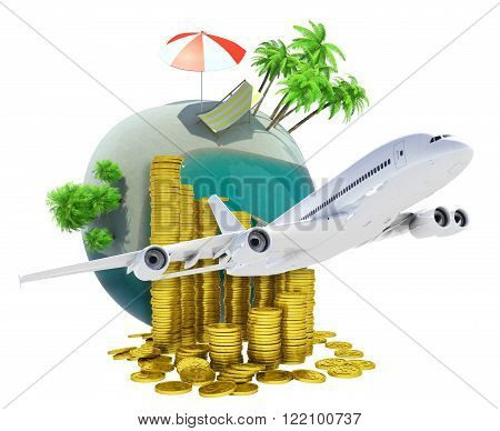 Earth globe with jet and coins isolated on white background, travel concept