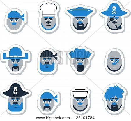 Pirate head set. Can be used as icons or face masks.