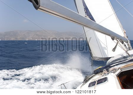 Yachts on the Mediterranean Sea at coast of Greece.