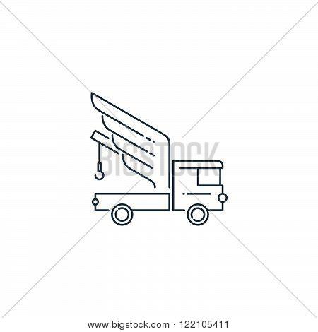 Tow truck. Road service. Linear design logo