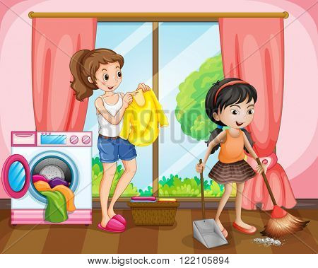 Two girls doing chores at home illustration