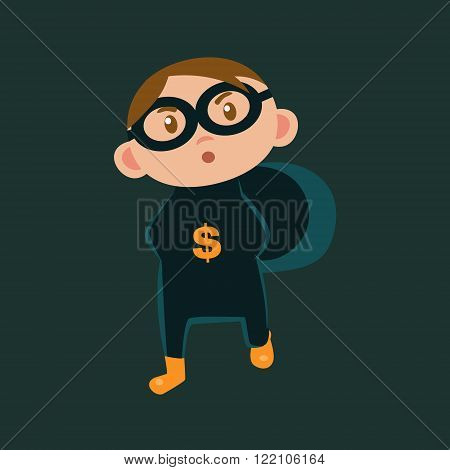 Boy IN Bank Robber Haloween Disguise Funny Flat Vector Illustration On Dark Background