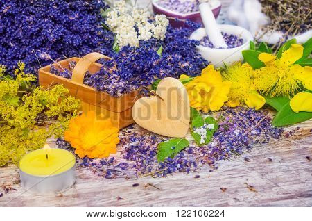 lavender and other flowers collected in the basket