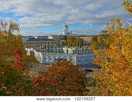 fall scenic of helsinki finland, city center