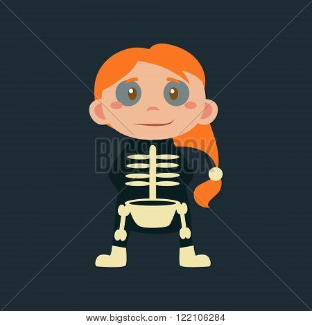 Girl In Skeleton Haloween Disguise Funny Flat Vector Illustration On Dark Background