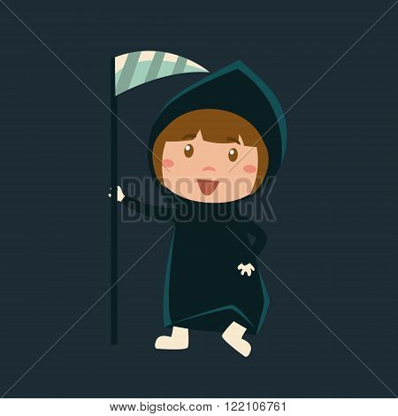 Girl In Death Haloween Disguise Funny Flat Vector Illustration On Dark Background