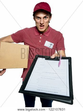Unkind courier delivering parcel and requires subscribe / isolated on white background