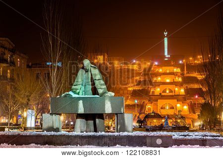 Statue of Alexander Tamanian and Cascade Alley in Yerevan, Armenia poster