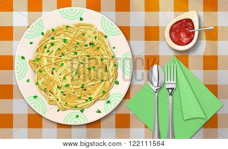 Raster Illustration of Spaghetti Dinner With Ketchup on The Table