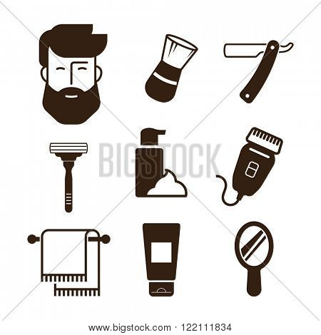 Barbershop icons. Bearded man face and barber tools.