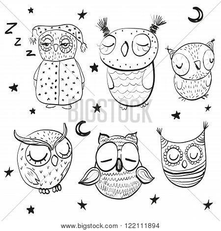 Set of cute hand drawn sleeping owls