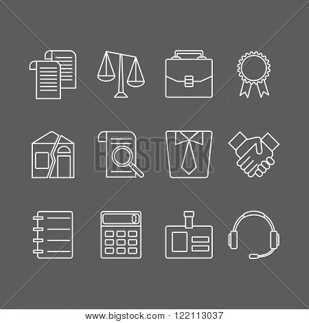 Vector set of modern flat line icons for law firm.