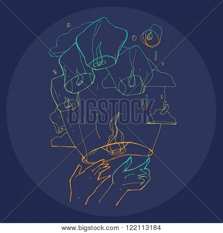 Hand painted illustration of the hands let go into the dark sky with cloud sky lanterns on blue background.Cute and decorative doodle style line art.