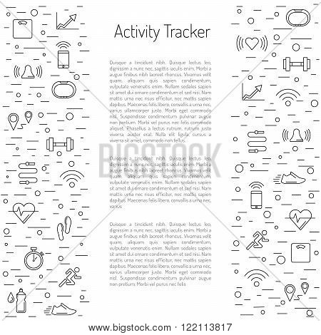 Illustration fitness bracelet. Fitness tracker pedometer. Fitness tracker with alarm function. Sync fitness tracker and smart phone. Fitness tracker with heart rate monitor function. outline style.