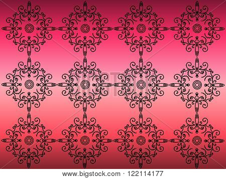 Black painted pattern on a pink background