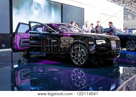 Geneva, Switzerland - March 1, 2016: Rolls Royce Ghost Black Badge Edition, front view presented on the 86th Geneva Motor Show in the PalExpo