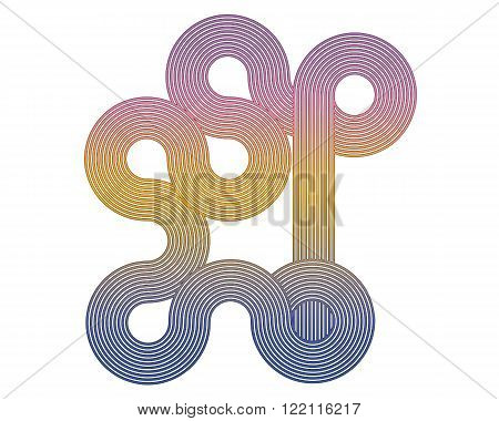 colored geometric figure sinuous lines on a white background