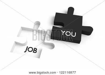 Missing puzzle piece, a job for you, black and white, jigsaw on a white background