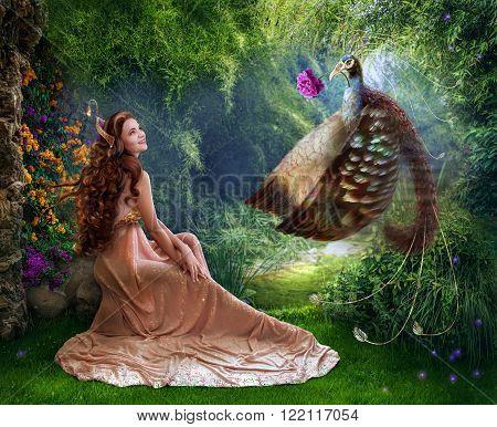 Beautiful princess with fabulous bird photo art