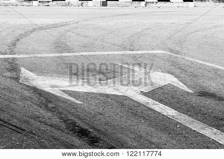 bidirectional arrow symbol on a wet asphalt road for the concept of choice.