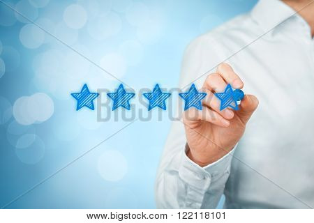 Review increase rating or ranking evaluation and classification concept. Businessman draw five blue stars to increase rating of his company.