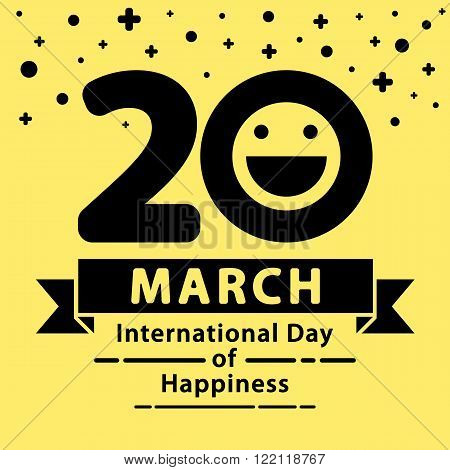 International Day of Happiness background. Vector illustration. Minimal and flat design. template layout for brochure flyer banner