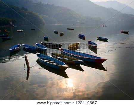 view of the Fewa lake in Pokhara