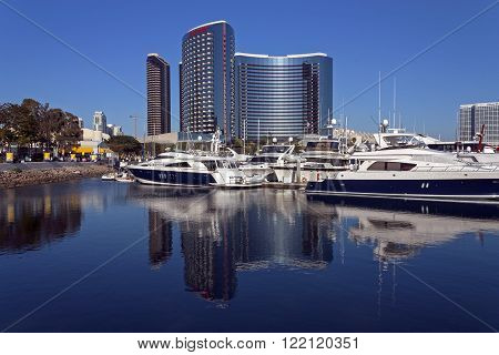 SAN DIEGO,CA,USA - APRIL 07: San Diego downtown hotel and a Marina in the foreground on April 07,2014 in San Diego,California, USA.