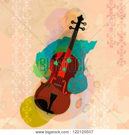 The picture with icon of viol on design background.