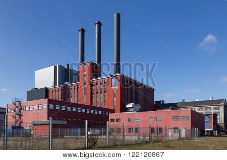 Copenhagen, Denmark - March 17, 2016: Photograph of the H. C. Oersted Power Plant which main task is to supply district heat to Greater Copenhagen.